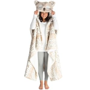 Owl Hooded Plush Wrap Blanket